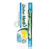 Зубная паста Хербал, лимон с солью + зубная щетка / Dabur Herb'l Salt & lemon / 150 г