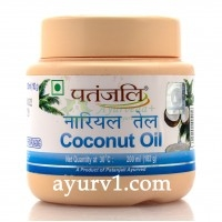Масло кокосовое, Патанджали, Индия - 100% натуральное кокосовое масло / Coconut Oil, Patanjali / 200 ml
