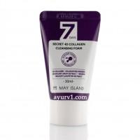 Очищающая пенка с коллагеном  уменьшает видимость купероза, May Island 7 Days Secret 4D Collagen Cleansing Foam 30 г