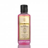Травяной Кхади гель для душа роза и мед, Rose & honey body wash, 210 мл