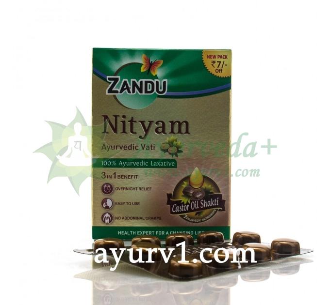 Слабительное, Нитьям Занду, Касторовое масло в таблетках  / Castor oil Shakti, Zandu  /  10 шт