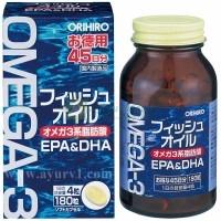 Омега 3, рыбий жир, Orihiro Omega3 Fish Oil, Япония, 180 капсул