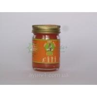 Оранжевый тайский бальзам Mho Shee Woke с разогревающим эффектом, Beelle / Тайланд / 50 гр